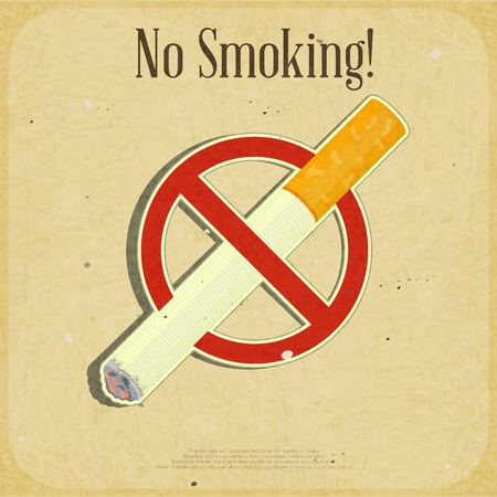 Retro poster - The Sign No Smoking - illustration Stock Vector - 15898290