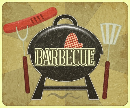 grill pattern: Grunge Design Grill and Barbecue Menu - illustration