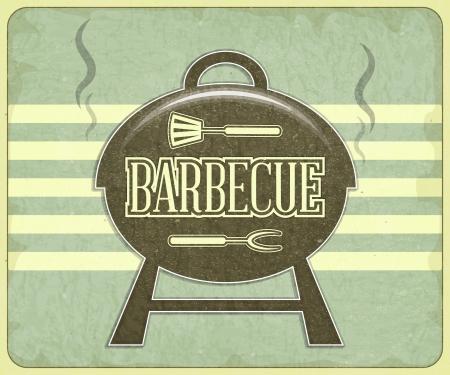 barbecue: Grill Design R�tro et Menu BBQ - illustration Illustration