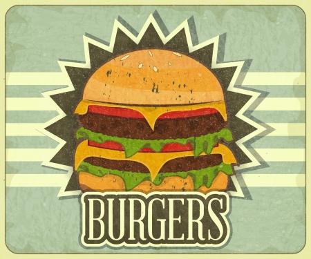 gourmet burger: Retro Cover for Fast Food Menu - hamburger on vintage background - illustration