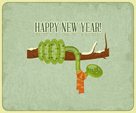 New Year Postcard design - symbol of the year, snake on a branch - vector illustration Stock Vector - 15966889