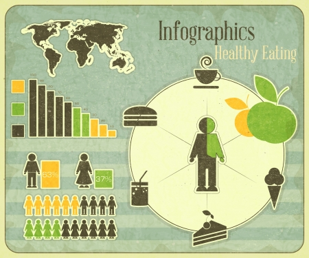 healthy eating: Vintage infographics set - Healthy Eating theme - vector illustration Illustration