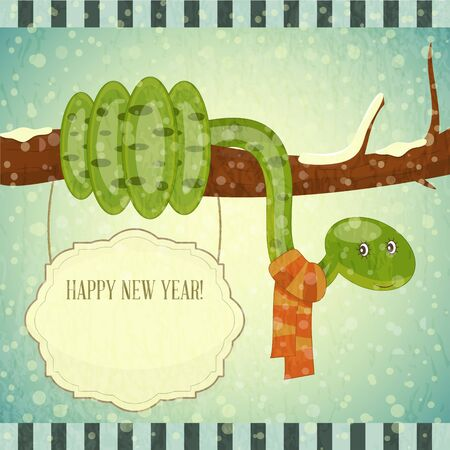 New Year Postcard design - symbol of the year, snake with place for text - vector illustration Stock Vector - 15966884