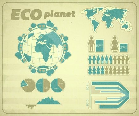 Eco infographic Retro set - vector illustration Vector