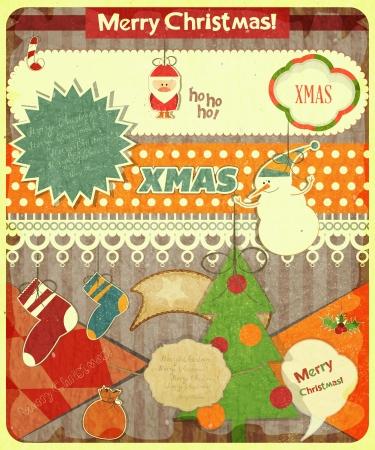 campanas de navidad: Antigua tarjeta postal de Navidad con Pap� Noel, mu�eco de nieve y las decoraciones de la Navidad en un fondo de la vendimia. Vector ilustraci�n.