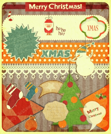 Old Christmas postcard with Santa Claus, snowman and Christmas decorations on a Vintage background. Vector illustration. Stock Vector - 15966892