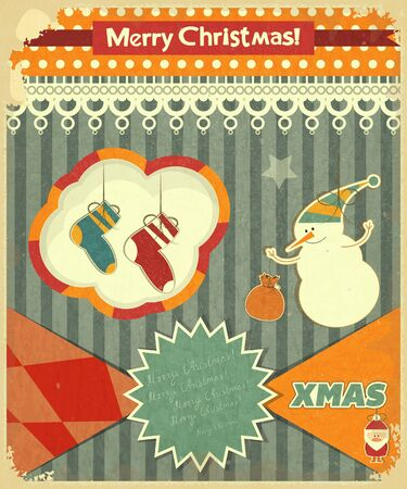 snowman background: Old Christmas postcard with snowman and Christmas socks on a Vintage background. Vector illustration. Illustration