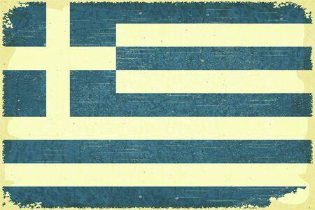 Grunge poster - Greek flag in Retro style - Vector illustration Vector