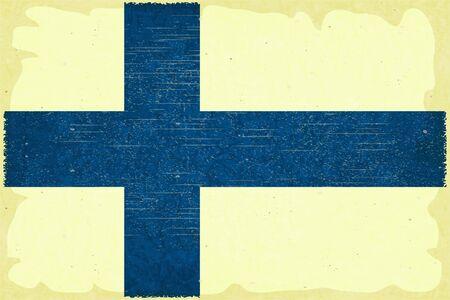 Grunge poster - Finnish flag in Retro style - Vector illustration Stock Vector - 15966894