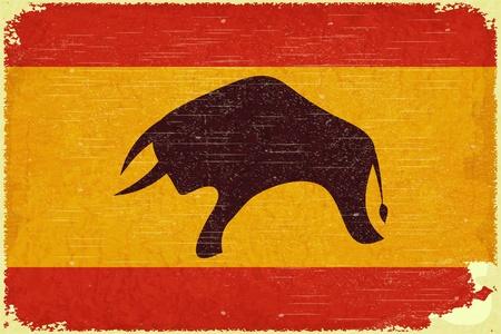 グランジ ポスター - レトロなスタイルのスペインのフラグ - ベクトル イラスト