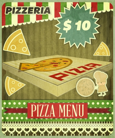 Vintage card Menu for Pizzeria Vector