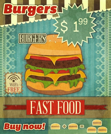 american cuisine: Grunge Cover for Fast Food Menu - hamburger on vintage background with place  for price and sign of free Wi-Fi-
