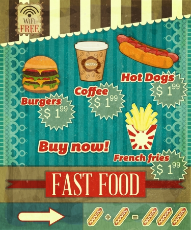 Vintage Fast Food Menu - the food on  grunge background with labels for price  Vector