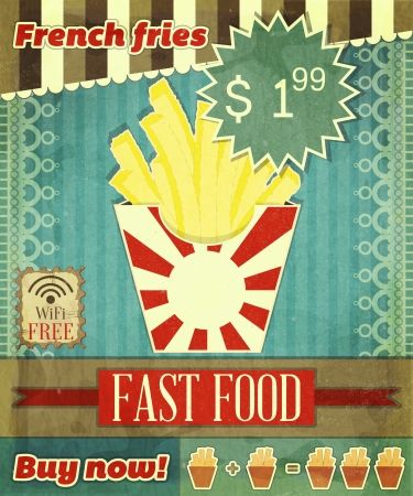 french fries: Grunge Cover for Fast Food Menu - French fries on vintage background with place  for price Illustration