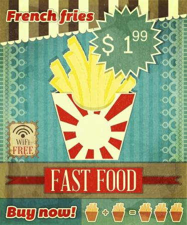 eating fast food: Grunge Cubierta de men� de comida r�pida - patatas fritas en fondo de la vendimia con el lugar para el precio