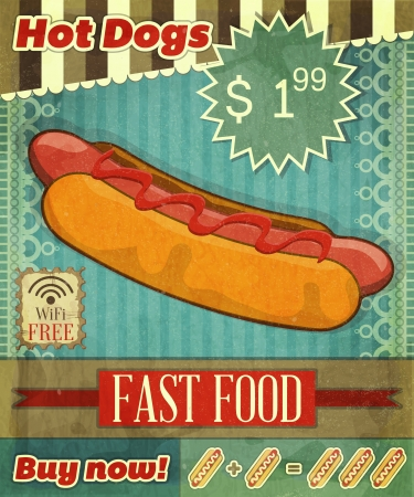 dog eating: Grunge Cover for Fast Food Menu - hot dog on vintage background with place  for price and  sign of free Wi-Fi