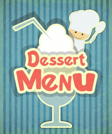Design of Dessert menu with chef and Ice Cream in Retro Style  Vector