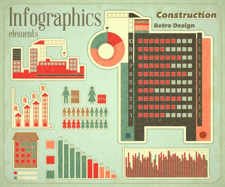 Construction - elements Infographics for presentations in Retro style - Construction Icons and graphics  Vector