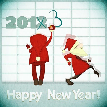 Santa Claus correct 2012 on the wall - New Year postcard in Retro style Stock Vector - 16186621