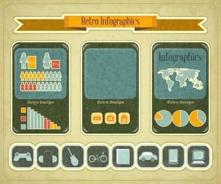 Retro Infographic Design with mobile phone devices and web icons buttons set  - vintage elements for presentation and visualization  Vector