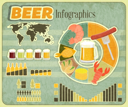 lager beer: Vintage Infographics set - Beer icons, Snack and elements for presentation and Graph