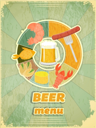 Grunge Design Beer Menu - glass of beer and snack on Vintage background  Vector