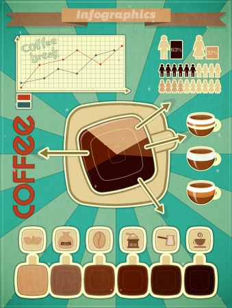 Retro infographics set - coffee icons and elements for presentation and graph  Vector