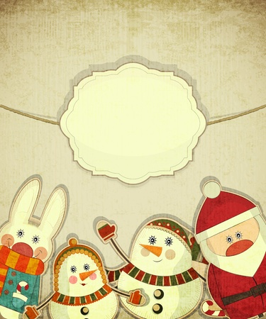 Vintage design of Christmas and New Years Postcard. Santa Claus, snowman and hare on a Vintage background.  Vector