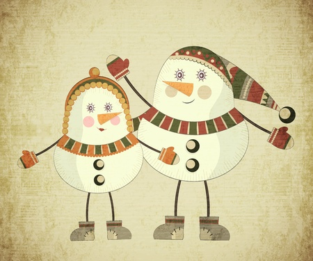 Vintage Christmas card - Two snowmen on grunge background - postcard in retro style Vector