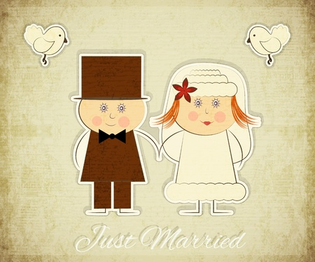 Vintage Design Wedding Card - Groom, Bride, Pigeons on Grunge Background  Vector