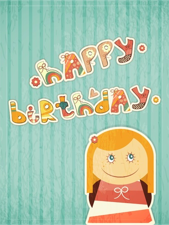 Birthday Card - Little Girl Dreams. Hand drawn text Happy Birthday.  Vector