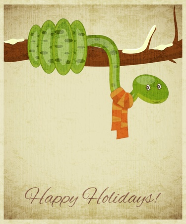 Greeting Postcard Retro design - symbol of the year, snake with place for text Stock Vector - 16378054