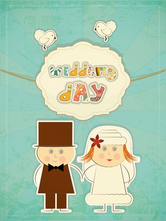 cartoon wedding couple: Wedding Card - Groom, Bride, Pigeons on Retro Background with hand drawn text Wedding Day