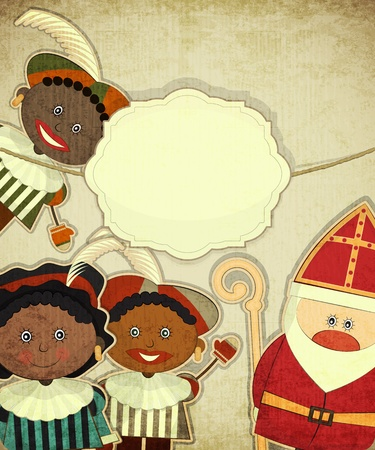 Christmas card with Dutch Santa Claus - Sinterklaas and Black Piet. Postcard in vintage style - illustration.  Vector