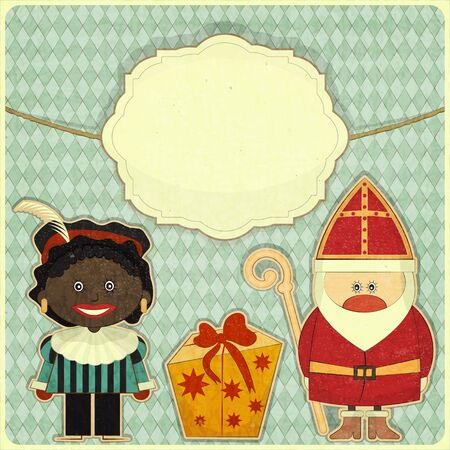 Christmas card Sinterklaas and Black Piet. Greeting card in vintage style  Vector