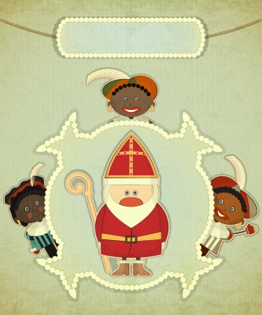 sinterklaas: Christmas card with Dutch Santa Claus - Sinterklaas and Black Piet. Greeting card in vintage style