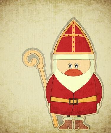 sinterklaas: Weihnachtskarte mit Dutch Santa Claus - Sinterklaas. Gru�karte im Vintage-Stil