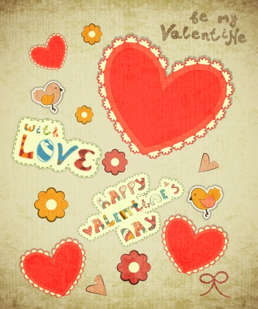 14 february: Valentines Day Card with hearts, birdies and hand lettering in Retro style - vector illustration