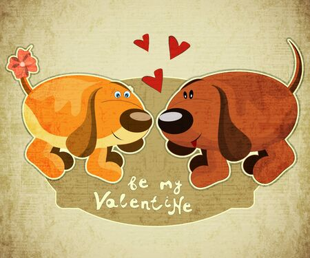 Valentines Day Card with cartoon dogs and hand lettering in Retro style - vector illustration Stock Vector - 16553710