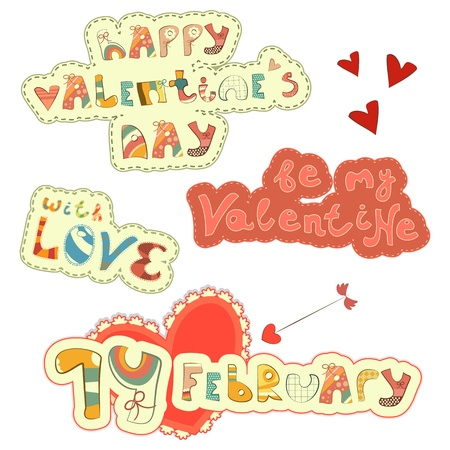 st valentines day: Set of Hand Lettering for St. Valentines Day - vector illustration Illustration