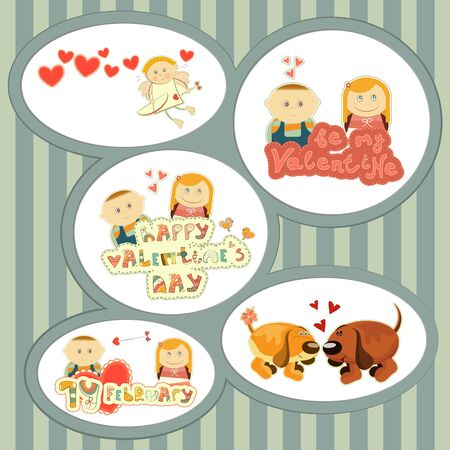 Valentines Day, set of stickers with Cartoon Boy and Girl and hand Lettering -  illustration Vector