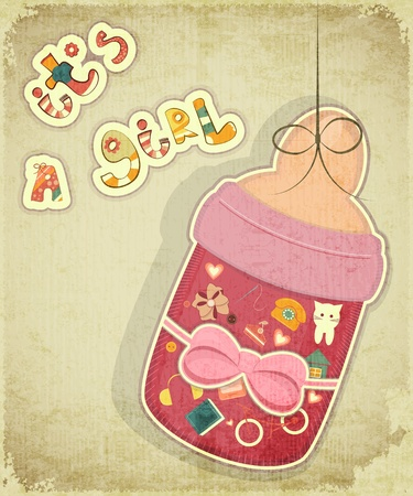 Birthday Card for Girl. Baby milk bottle for girl on vintage background.  Vector