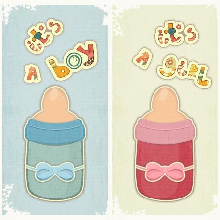 teteros: Conjunto de tarjeta de cumpleaños para Chico y Chica. Bebé botella de leche en el fondo de la vendimia.