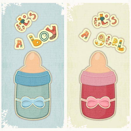 newborn baby girl: Set of Birthday Card for Boy and Girl. Baby milk bottle on vintage background.