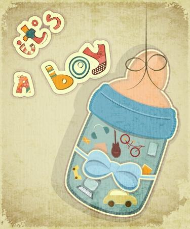 teteros: Tarjeta de cumpleaños para el muchacho. Bebé botella de leche por niño en el fondo vintage.