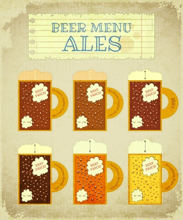 bock: Vintage Beer Card. Ales with place for Price, lettering type of beer and strength - alcohol content Illustration. Illustration