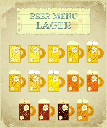 bock: Vintage Beer Card. Lager with place for Price, lettering type of beer, foam heights and strength - alcohol content Illustration. Illustration