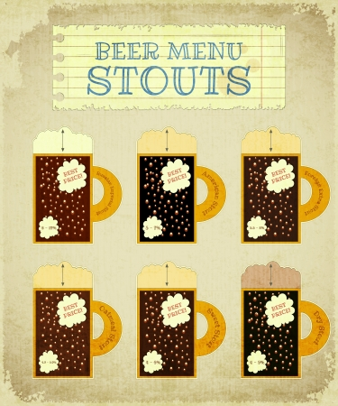 Vintage Beer Card. Stouts with place for Price, lettering type of beer, foam heights and strength - alcohol content Illustration. Vector