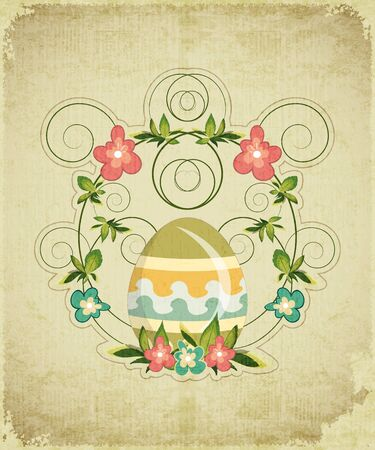 Vintage Easter Card with colorful Egg and Flowers Illustration. Vector