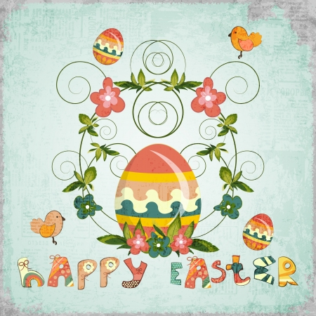 Retro Design of Easter Card with colorful Egg, Flowers, Birds and Hand Lettering Happy Easter Illustration. Vector
